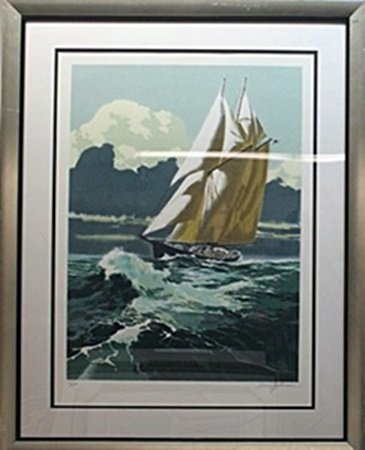 "Serigraph ""Yachting"" after Hrry Scharre"