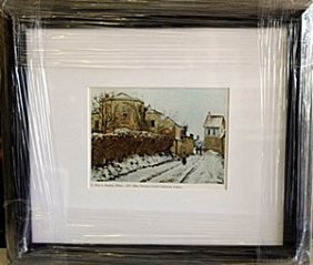 """Framed Lithograph """"winter"""" By Pissarro"""