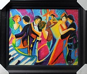 """Serigraph On Canvas """"the Tango Club"""" After Philip"""