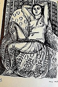 "Lithograph ""Odalisque A La Jupe tulle"" after Henri"