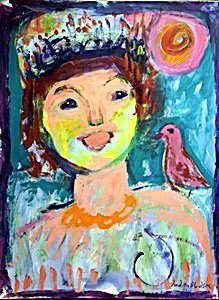 The Mad Princess and her Bird -  Painting by Judith