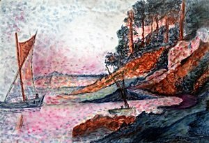 Bord De Riviere - Pastel Drawing - M. Vlaminck