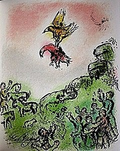 """Lithograph """"The Omen: The Goshawk and the Dove"""" by"""