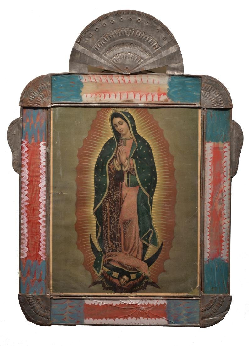 Tin Frame with Period Guadalupe Lithograph
