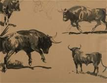 Edward Borein, Four Bulls