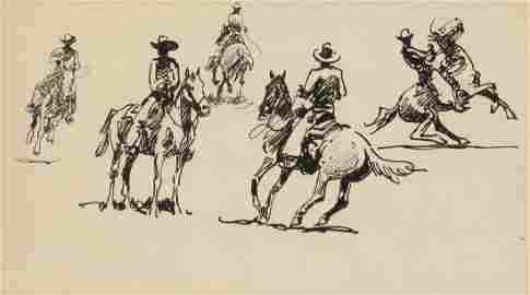 Edward Borein, Study of Five Cowboys