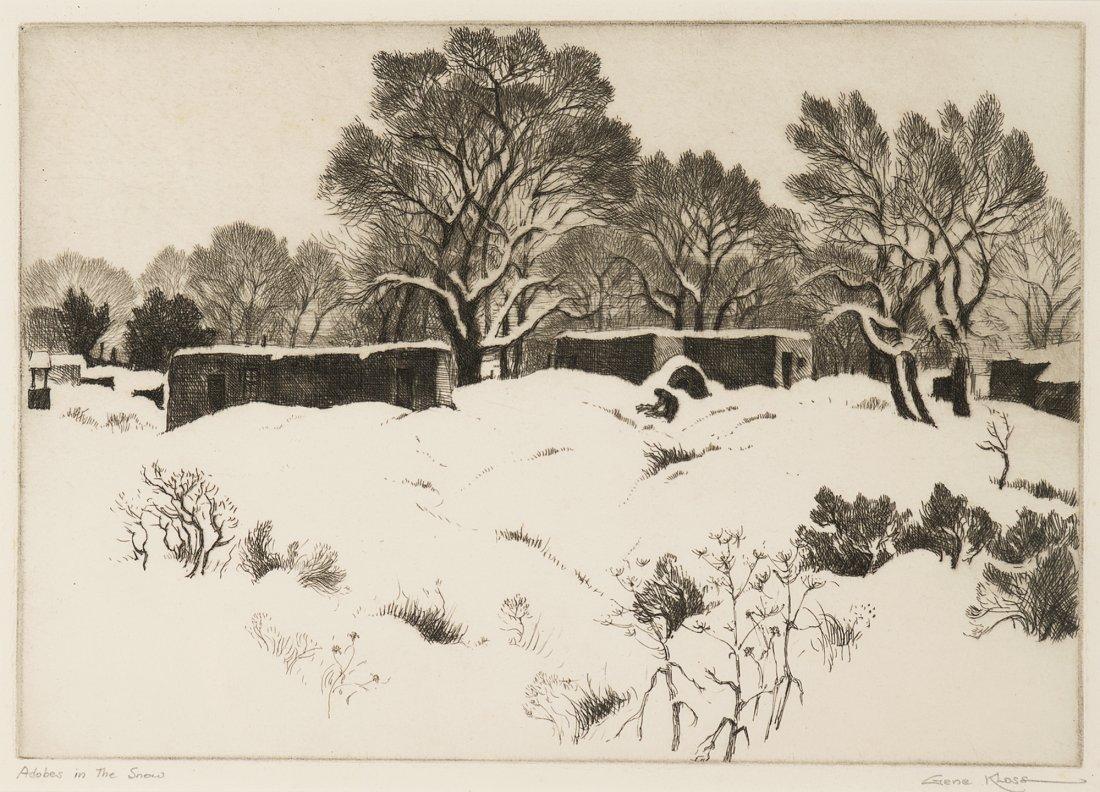 Gene Kloss, Adobes in the Snow, 1944