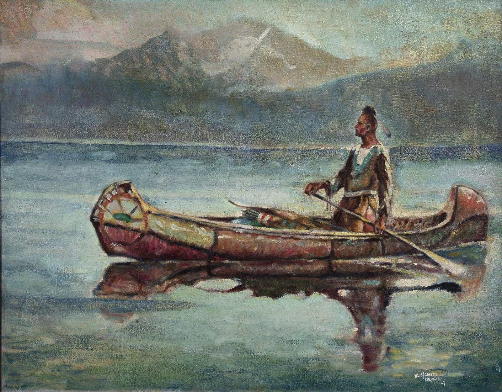 W. H. Jackson, Blackfoot Indian at Grand Teton, WY
