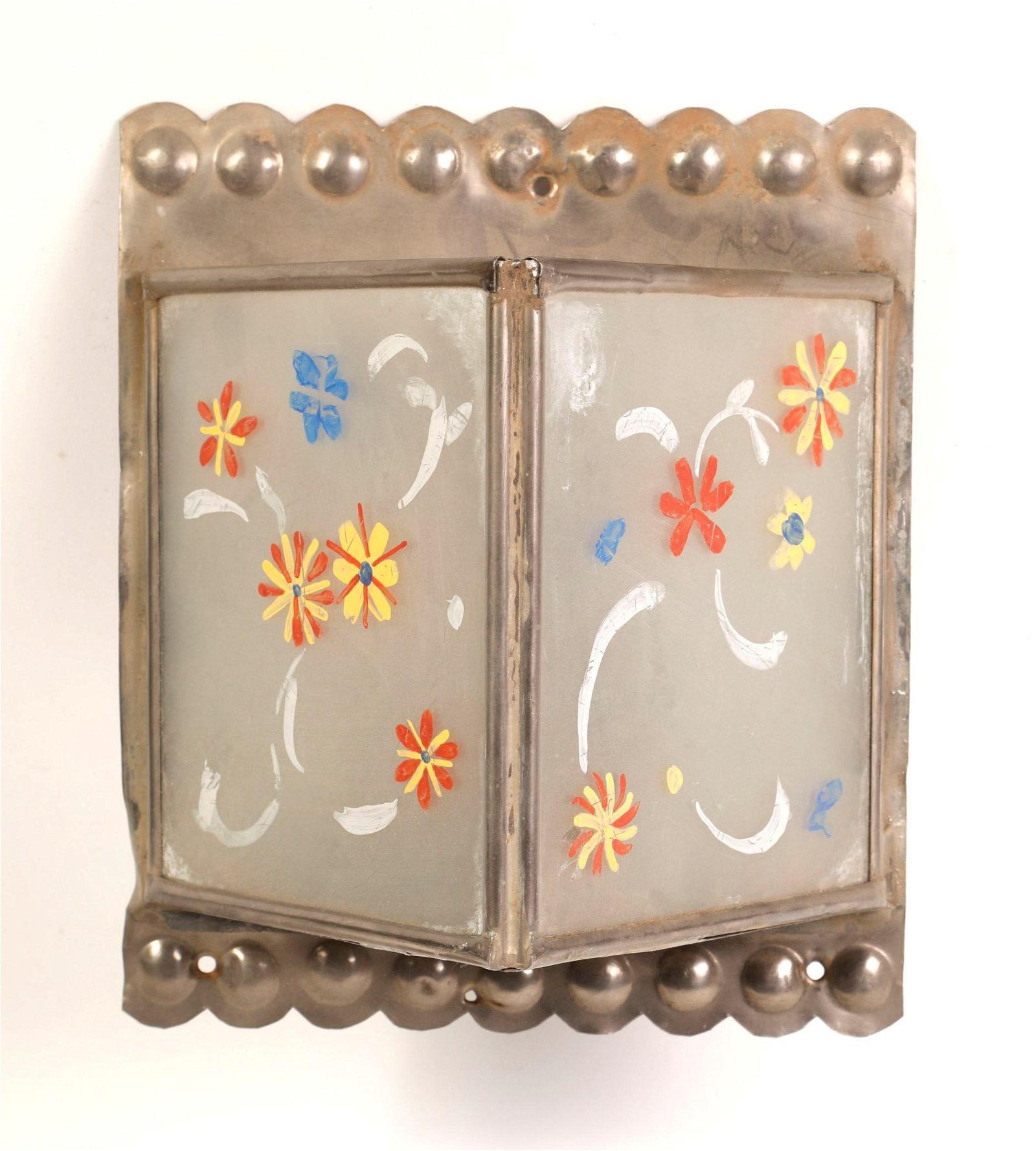 Tin Painted Wall Sconce with Glass Sides, ca. 1950