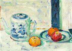 B. J. O. Nordfeldt, Teapot and Persimmons