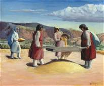 Will Shuster, Sifting Wheat, San Ildefonso, New Mexico,