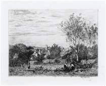 After Jean Baptiste Corot, Untitled (Village Scene)