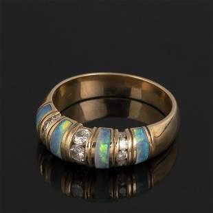 A Montez Gold, Diamond and Black Opal Ring