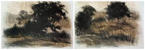 Richard Mayhew, Two Sepia Toned Lithographs