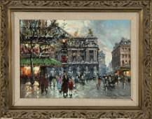 Antoine Blanchard, Paris Street Scene Outside Café