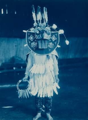 Edward Curtis, Masked Dancer - Cowichan, 1912