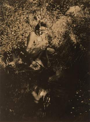 Edward Curtis, Untitled (Brave Kneeling by Water), ca.