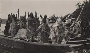 Edward Curtis, Untitled (Masked Dancers in Canoe -