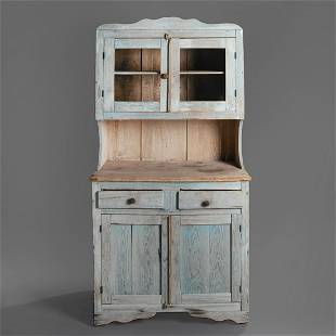 New Mexico, Painted Trastero Cupboard, 20th Century