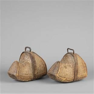 Spanish Colonial, Carved Wood Conquistador Stirrups,