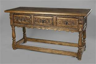 Spanish-Style, Carved Wood Buffet Table