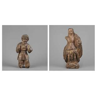 Spanish Colonial, Mexico, Two Saint Figures, 18th-19th