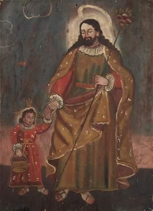 Mexico, Retablo of San Jose Patriarca and Santo Niño,