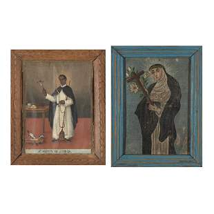 Spanish Colonial, Group of Two Retablo Paintings, 19th