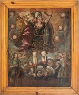 Spanish Colonial, Central Mexico, Retablo of San Miguel