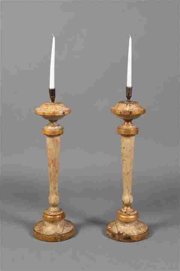 Spanish Colonial, Mexico, Pair of Candlesticks
