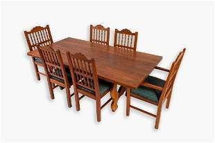 Volker de la Harpe, Carved Dining Table and Six Chairs