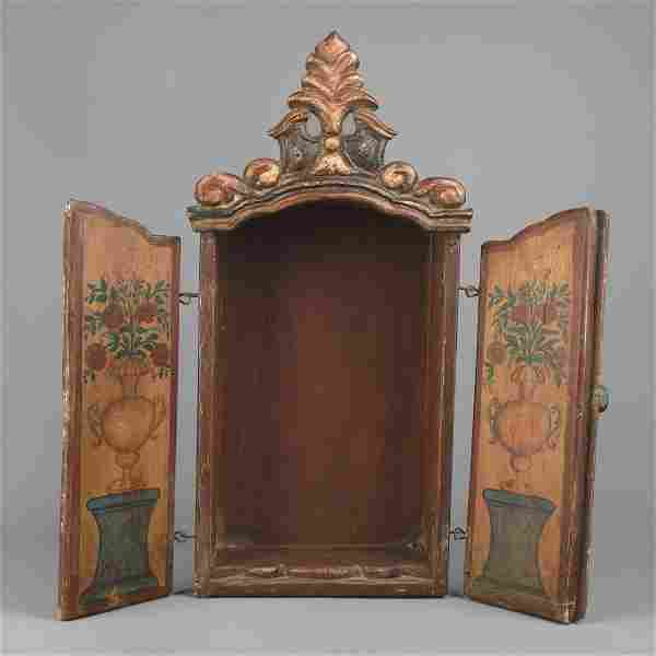Spanish Colonial, Mexico, Painted Wood Nicho, 19th