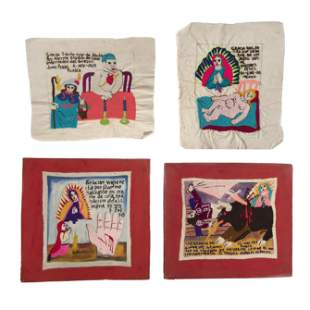 Mexico and New Mexico, Group of Four Embroidered Ex