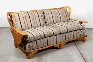 American Southwest, Upholstered Ranch Sofa with Wood