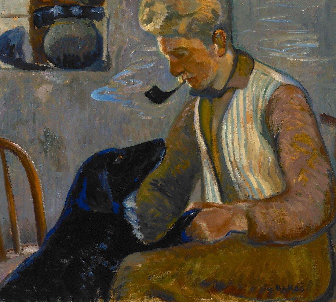80: JOZEF G. BAKOS, Self Portrait with Dog, 1930