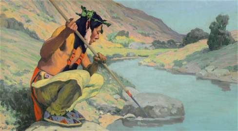 Eanger Irving Couse ,  Spearing the Fish