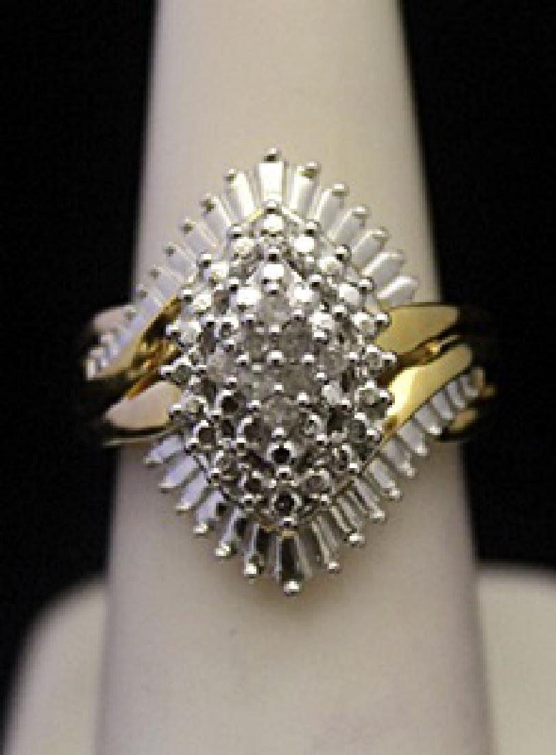 Very Fancy 14kt over Silver Cocktail Ring with Diamonds