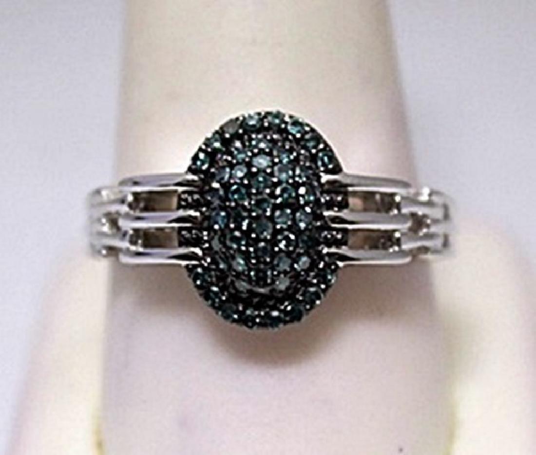 Beautiful Blue Diamonds Silver Ring