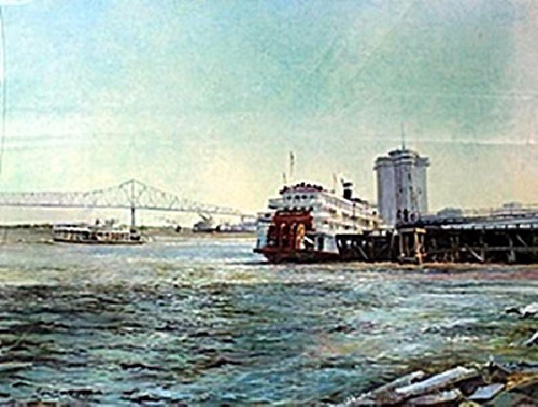 """Lithograph """"Miss River Ferry""""  Robert M. Rucker"""