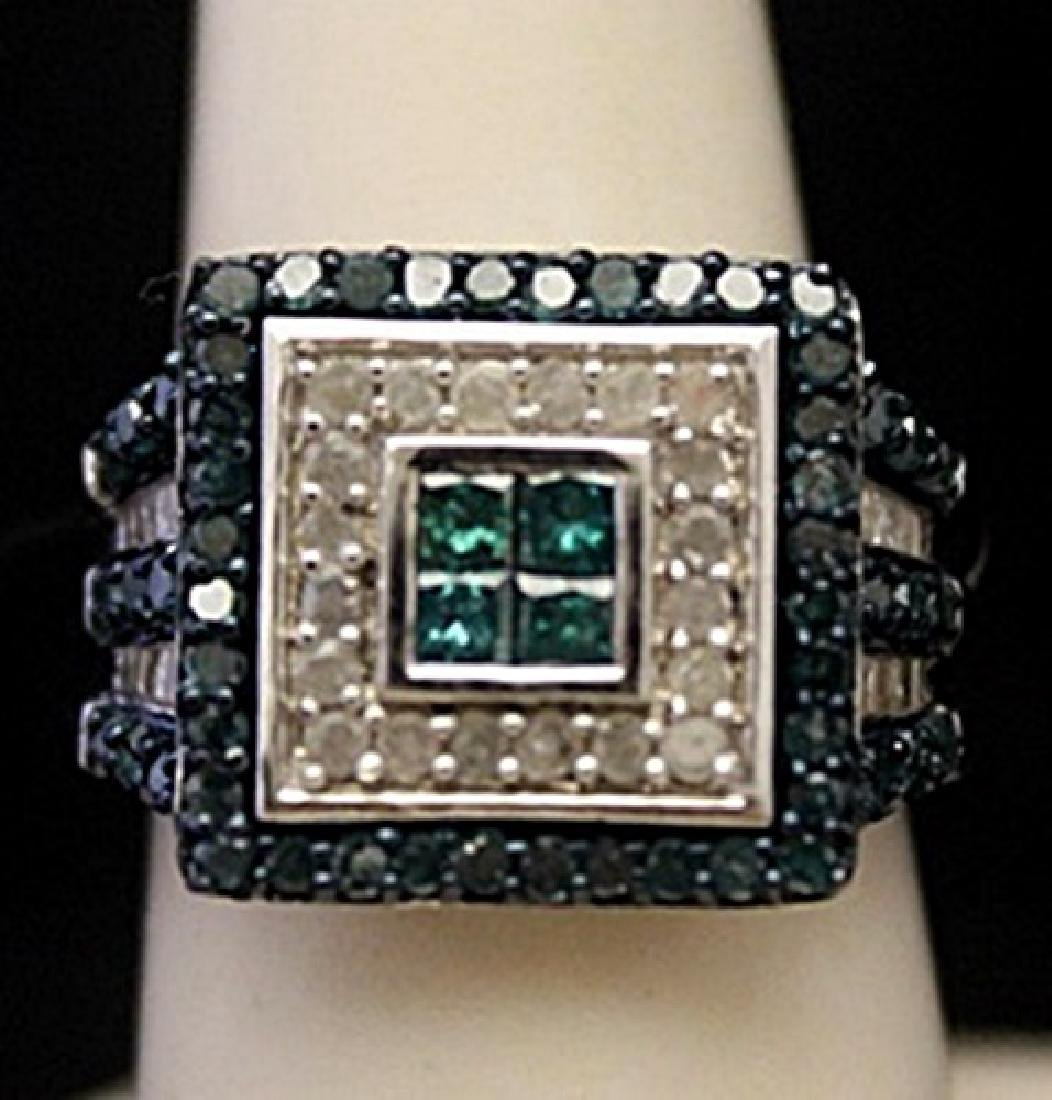 Lady's Fancy Silver Ring with Lab Alexandrites &