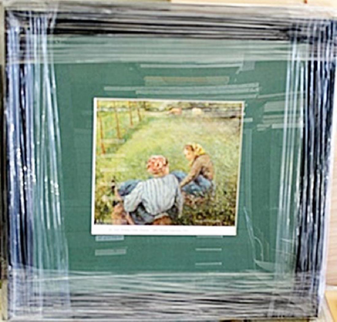 "Framed Lithograph ""Girls Tending Cattle"" by Pissarro"