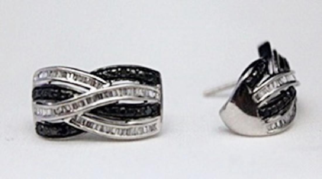 Beautiful Silver Earrings with Black Diamonds &
