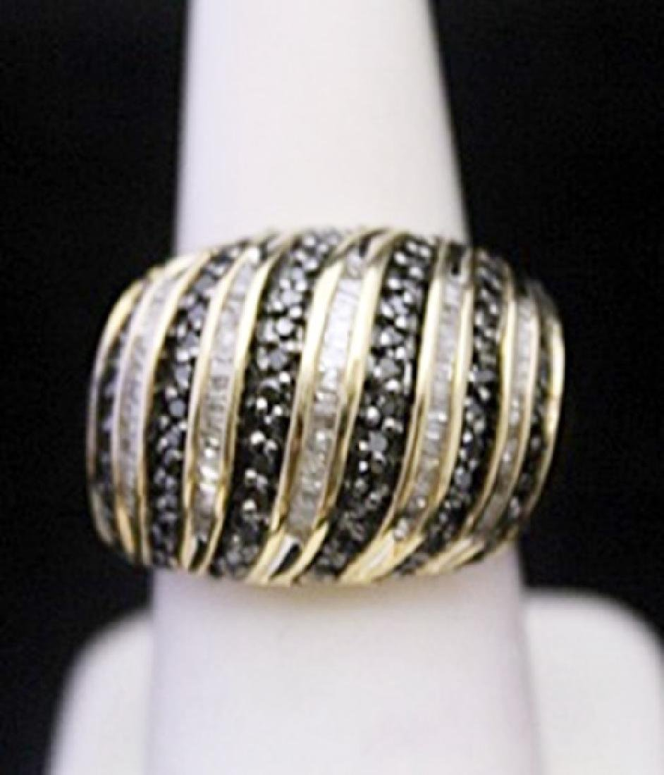 Fancy 14kt over Silver Ring with Black Diamonds &