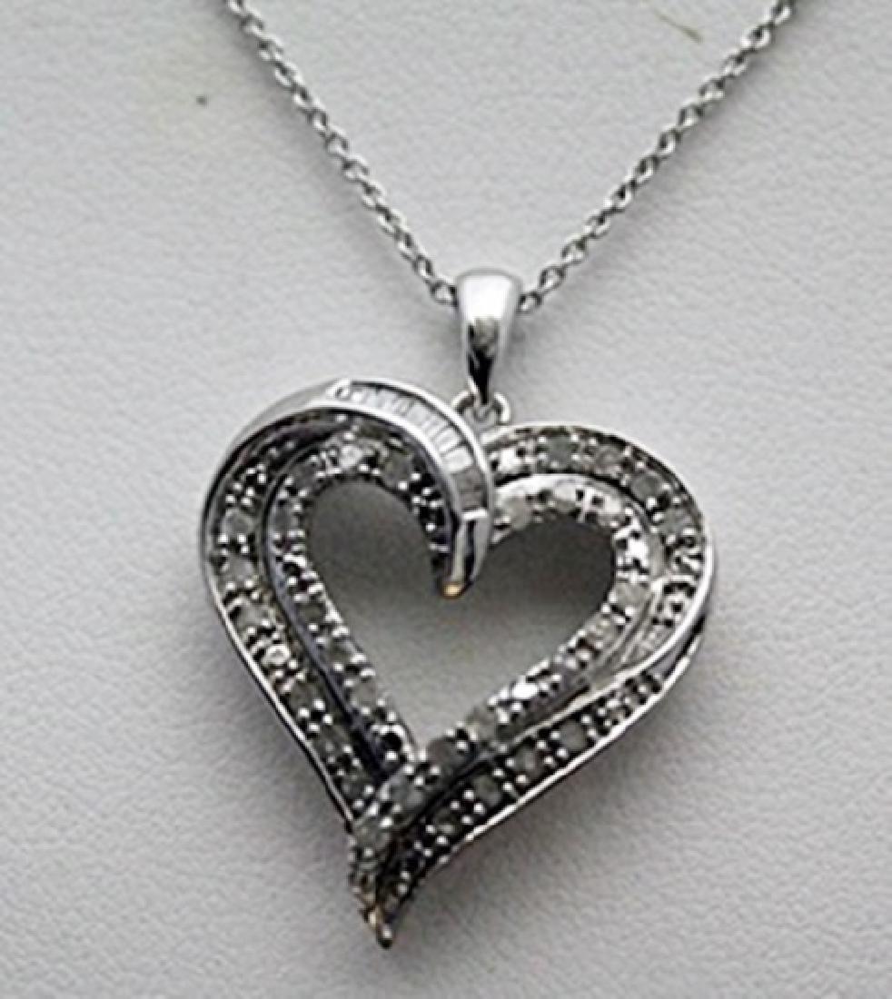Fancy Silver Heart Shape Necklace with Diamonds
