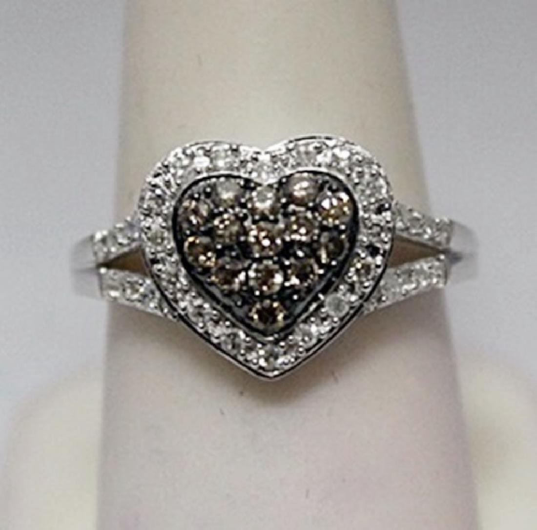 Beautiful Heart Shape Champagne & White Diamonds Silver