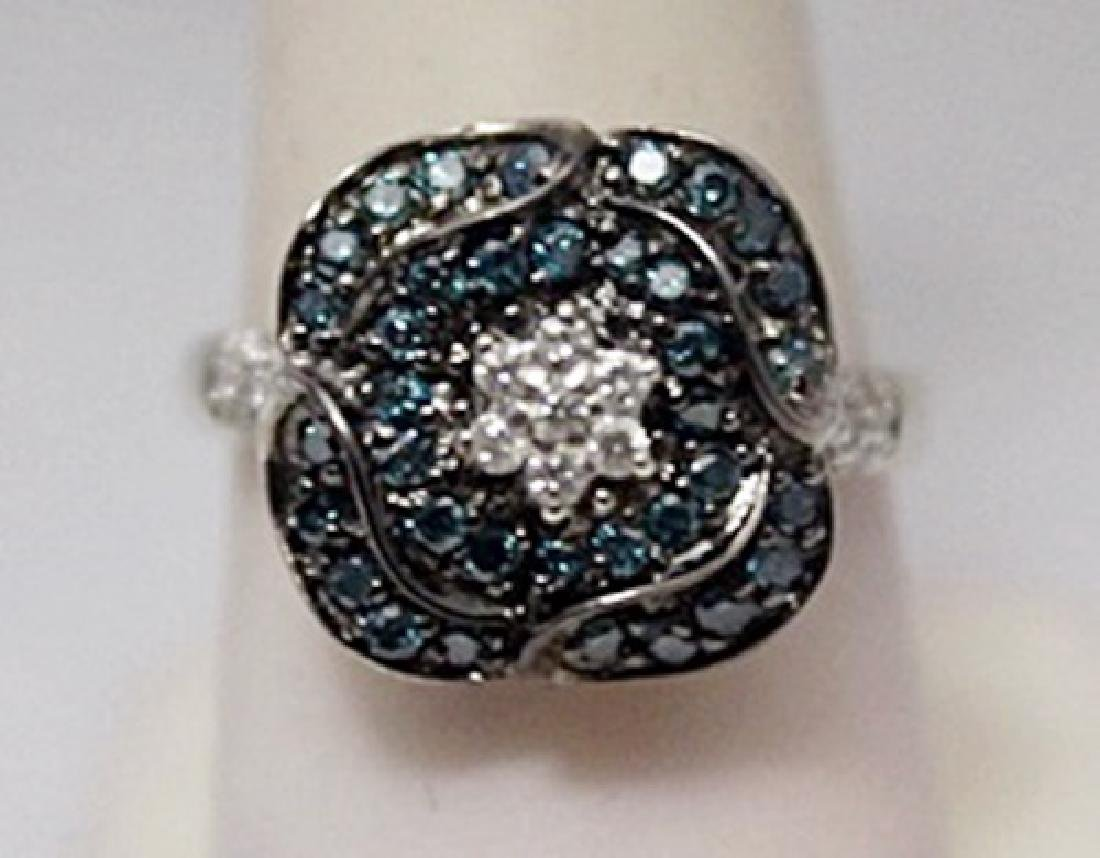 Stunning Blue & White Diamonds Silver Ring