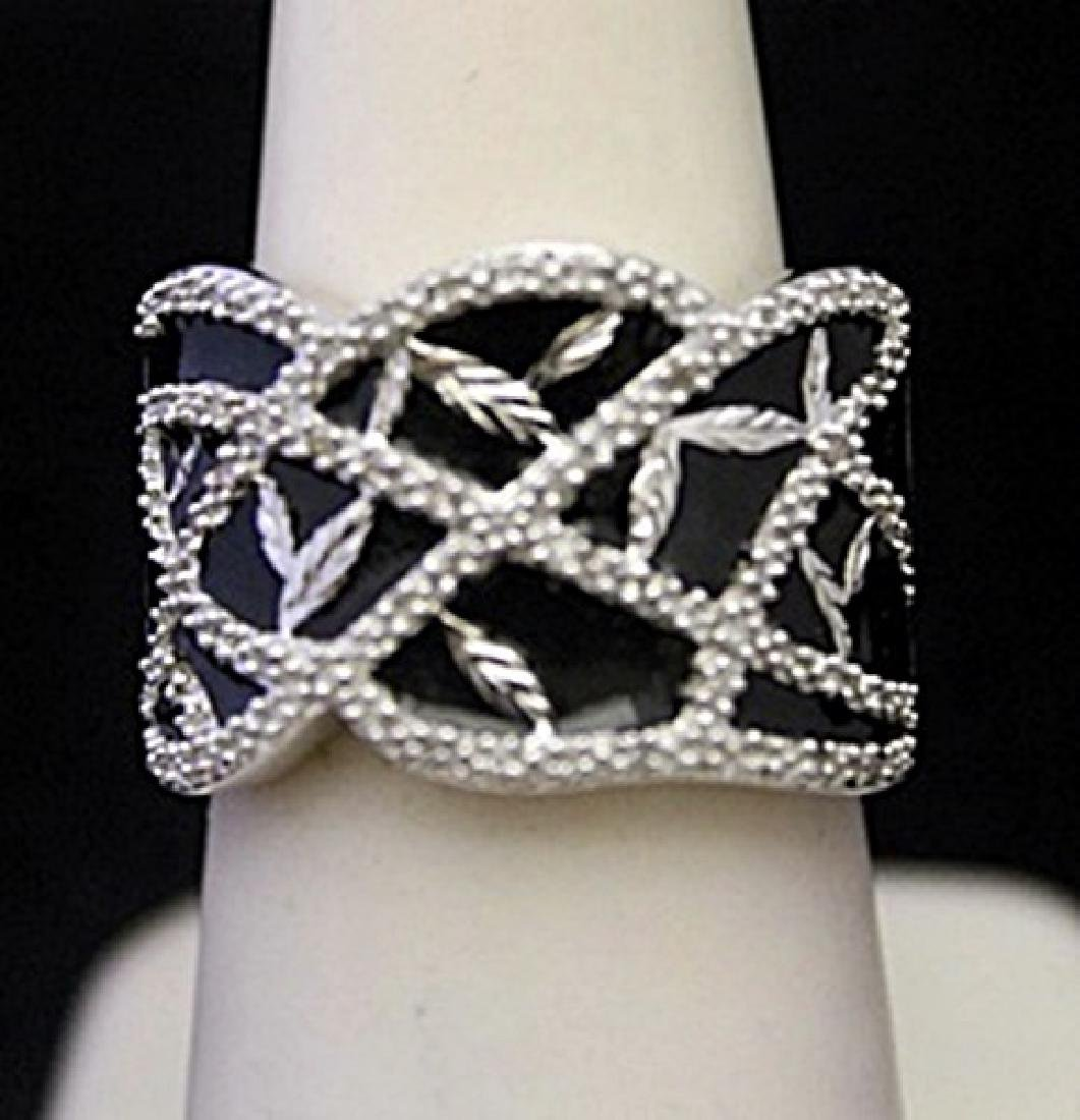 Fancy Silver Ring with Diamonds