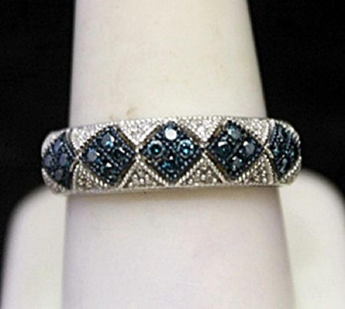 Fancy Silver Ring with Topaz & Diamonds