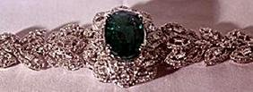 18K Antique Style WhiteGold Columbian Emerald & Diamond