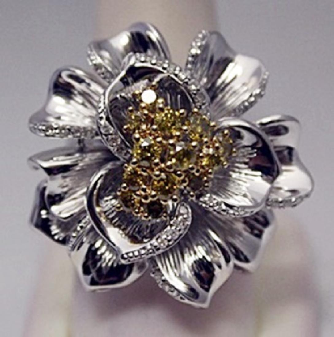 Gorgeous Flower Yellow & White Diamonds Silver Ring